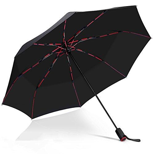 VONDAVO Automatische Taschenschirm Sturmsicherer Regenschirm mit 8 rote fiberglas Rippen & 210T Teflonbeschichtung, Reise/Golfschirm, leicht stabil Kompakt Schirm für Reisen & Business | Dm. 105cm
