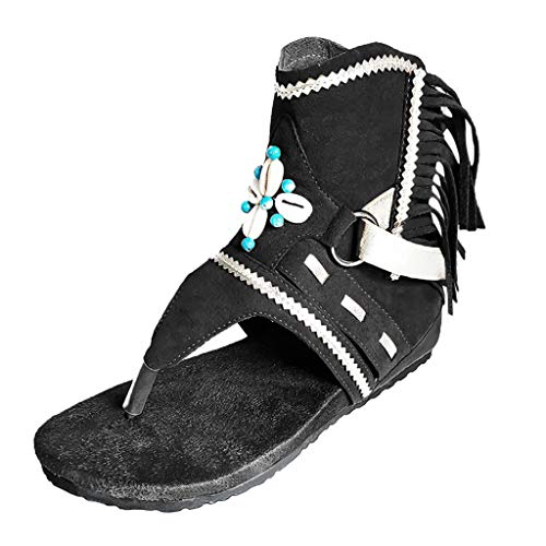 Dorical Roman Hausschuhe Sandalen,Damen Sommer Gladiator Quaste Schnalle Zip Toe Clip Keil Komfortable Open Toe Retro Sandale Stiefel Outdoor Anti Slip Casual Walking Urlaub Wide Fit