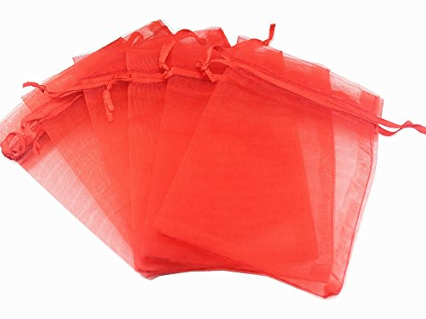 QIANHAILIZZ 100 Pack 7 x 9 Inch Solid Color Drawstring Bags Organza Jewelry Gift Pouch Candy Pouch Drawstring Wedding Favor Bags OB18110281723 (red)