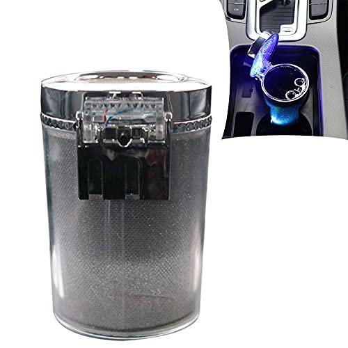 CARMAE Cenicero de coche portátil auto cenicero LED cenicero de coche sin humo vehículo titular de cigarrillos cilindro cenicero suministros de coche