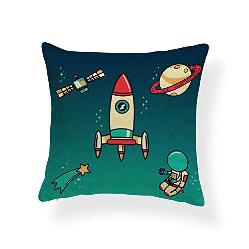 Astronautas Caminan Fuera del Espacio, Funda de cojín del Planeta, Lanzamiento de la Nave Espacial, Explore Moon Hug Pillow 40 × 40cm con núcleo de Almohada