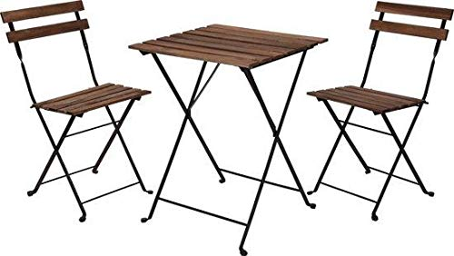 Relaxwonen - Bistro set - Tuinset - Tuintafel en stoelen - Zwart - Metaal - Hout
