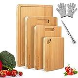 mastertop set di 4 taglieri in bambù con scanalatura per succo con 1 temperamatite e coltello, multifunzione per carne, frutta tagliere di bambù
