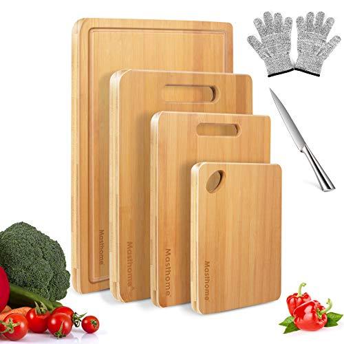 MASTERTOP 4er Bambus Schneidebrett Set mit Saftrille, Schneidebretter Holz mit 1 Paar Handschuhe und Messer, Multifunktional Schneidebretter in verschiedenen Größen für Fleisch,Obst
