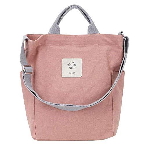 Gindoly Casual Handtasche Damen Canvas Chic Schultertasche Damen Henkeltasche Schulrucksack Große umhängetasche Tasche (Rosa)