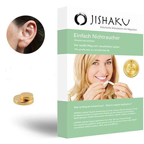 JISHAKU Magnet-Anwendung, EINFACH NICHTRAUCHER Original asiatische Stimulation mit Magneten, FREEGIFT Finger-Massage-Ring, Nikotinfrei, Rauchen aufhören, Anti Raucher, Raucherentwöhnung