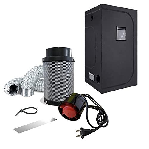 NICEGROW Box Set Zelt Abluft 243 CBM/h Growzelt 60x60x140cm Aktivkohlefilter Grow Tent