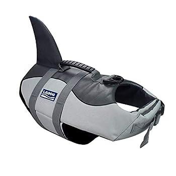 BOBKY Gilets de Sauvetage pour Chiens Gilet de Flottaison Animaux Gilet Natation Réglable Gilet de Sauvetage avec Poignée Pet Life Jacket (L, Chiens Gilets de Sauvetage Gris)