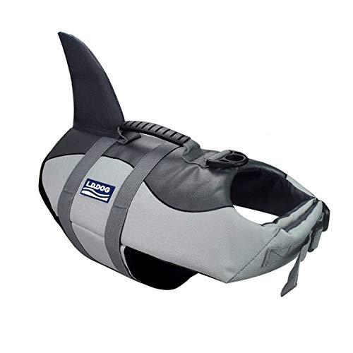 BOBKY Gilets de Sauvetage pour Chiens Gilet de Flottaison Animaux Gilet Natation Réglable Gilet de Sauvetage avec Poignée Pet Life Jacket (S, Chiens Gilets de Sauvetage Gris)