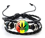 Pulsera unisex con diseño de marihuana y marihuana y marihuana con bandera jamaicana de cuero auténtico con cristal y acero inoxidable