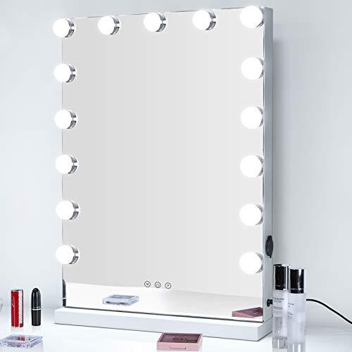 Meidom Hollywood Spiegel mit Beleuchtung, mit USB, 43x61cm Schminkspiegel mit Licht, 3 Farbtemperatur Licht, 15 Dimmbare LED Theaterspiegel für Schlafzimmer, Kosmetikstudio - Weiß