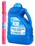 BubblePlay 1 Pack 64-Ounce Bubble Solution - Free Big Bubble Wand & Easy Pour Bottle for Fun Bubble Machines, Refills, Weddings, Birthdays for Kids All Ages and Outdoor Events
