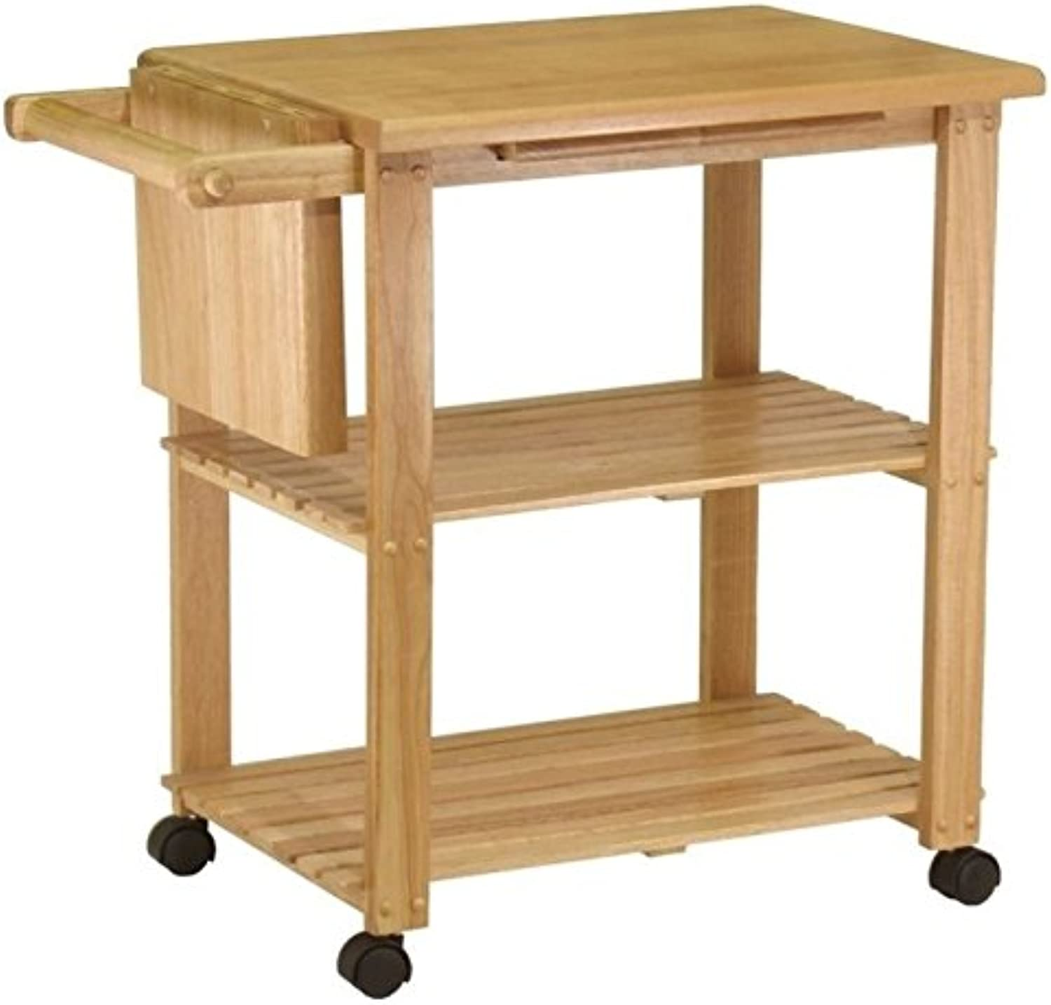 Pemberly Row Utility Butcher Block Kitchen Cart in Natural