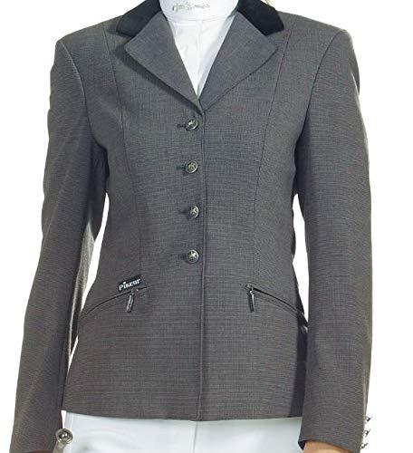 Pikeur Damen Turnierjacket Damensakko Turnierblazer Skarlett elastisch mit Samtkragen und Dekoknöpfen (48, Schwarz mit braunem Kragen)
