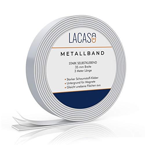 Lacaso Metallband selbstklebend I Ferroband extra stark I Universal Magnethaft-Wandleiste aus Stahl I Praktisches Eisenband für Magnete I Ideal für Schule, Arbeit und Werkstatt