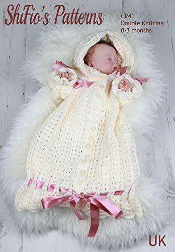 Gehaakte patroon voor baby, capuchon slaapzak, 0 tot 3 maanden, dubbel breien, UK Terminology CP41