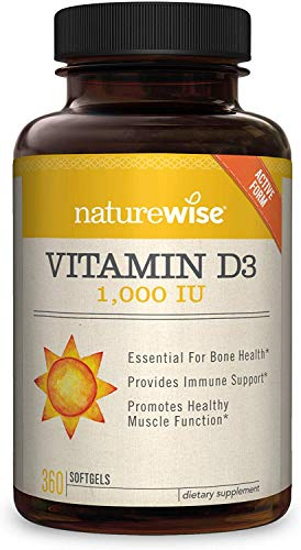 NatureWise Vitamin D3 1,000 IU for Healthy Muscle Function, Bone Health, and Immune Support | Non-GMO and Gluten-Free in Cold-Pressed Organic Olive Oil Capsule [1 Year Supply - 360 Count]