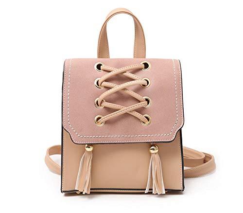 Mode Auto Nähgarn Handtasche einfarbig PU Frauen Umhängetasche einfach verschleißfest robust wasserdicht Freizeit Reiserucksack @apricot