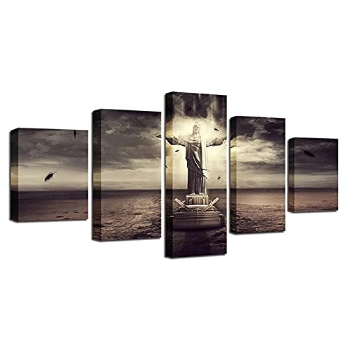 VYQDTNR - Large Wall Art Canvas Home Art Decoration Abstract Christ The Redeemer Canvas Mural Living Room Bedroom 5 Piece Wall Decor, Framed Artwork