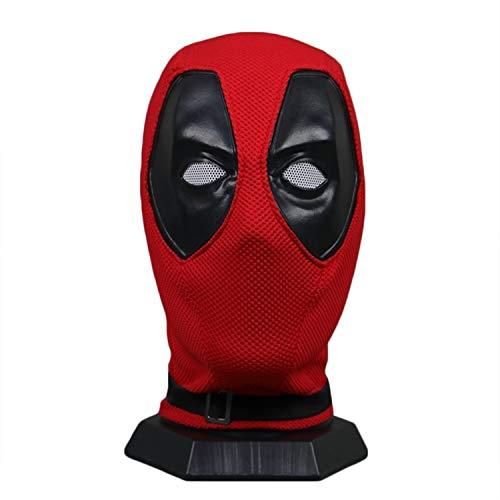 QWEASZER Casco de máscara Completa Marvel X-Men Deadpool, Película Cosplay Accesorios de Vestuario, de Halloween para Hombres Adultos apoyos del Funcionamiento del Vestido, Red-55~62CM