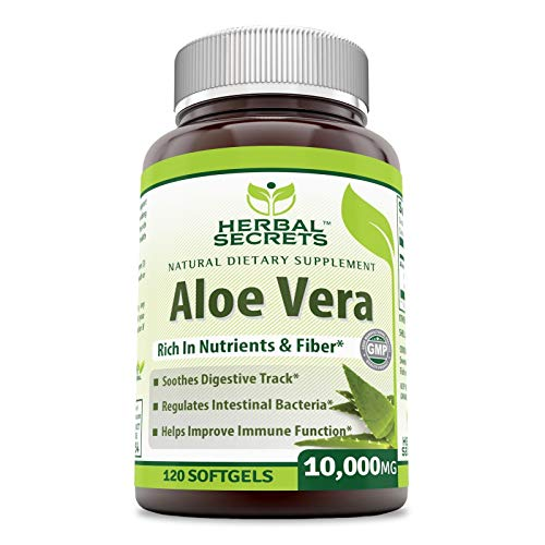Herbal Secrets Aloe Vera 10000 Mg, 120 Softgels (Non-GMO) - Regulates Intestinal Bacteria, Soothes Digestive Track, Helps Improve Immune Function*