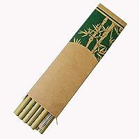 Pailles en bambou 20 cm - Diamètre extérieur : 8-9 mm - Diamètre intérieur : 4-5 mm - Convient pour les boissons glacées et diverses boissons chaudes. Pailles droites : les pailles en bambou sont fines et droites, ce qui les rend plus faciles à range...