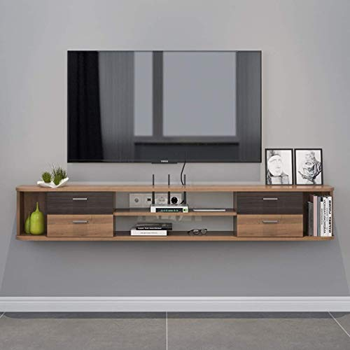 ZXYY wandmontage TV kast opknoping muur kast muur plank drijvende plank set top box Router opslag plank speelgoed foto display plank met lade tv-console (kleur: walnoot kleur) Walnut Color