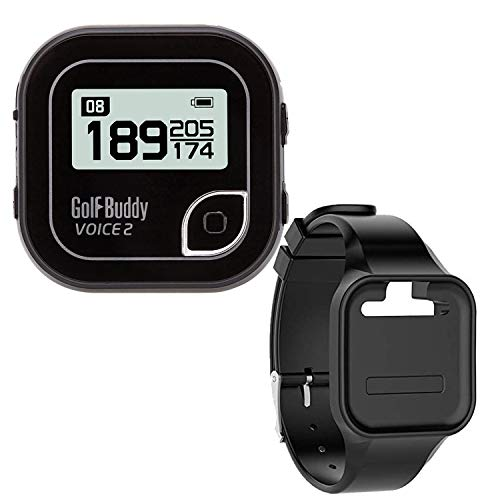 GolfBuddy Clip on Voice 2 Golf Navigation GPS for Hat, GPS and Laser Rangefinder, 14 Hours Battery Life, Water Resistant with Lifetime Free Courses (Black) Bundled with Silicon Wristband (Black)