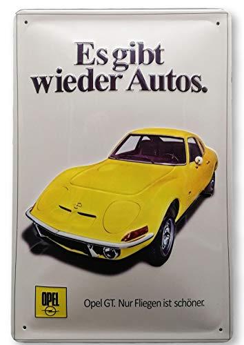 Mehr Relief-Schilder hier... Retro Blechschild OPEL GT Garage Auto Werkstatt Oldtimer Werbung-Reklame-Retro-Marke-Schild-Magnet-Metallschild-Werbeschild-Wandschild