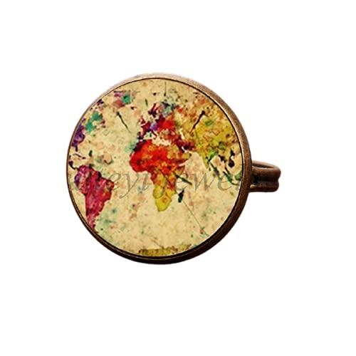 Mapa ajustable anillo de mapamundi arco iris multicolor joyería anillo de...