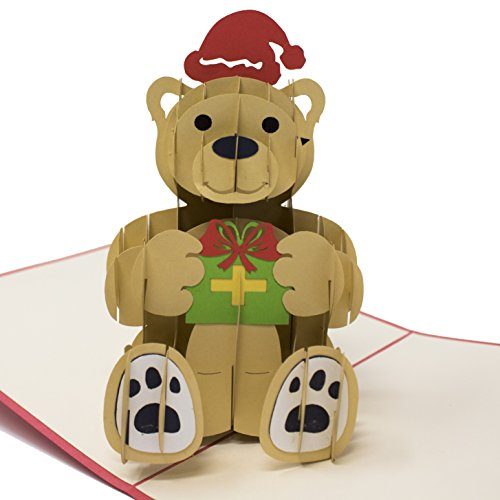 3D Animated Christmas Teddy Bear Greeting Cards - Perfect to Send with Gifts!