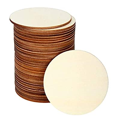 Blisstime 36 PCS Unfinished Wood Circles Round Slices Wood Drink Coasters for Painting, Writing, DIY Supplies, Engraving and Carving, Home Decorations