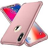 ORETECH Funda Compatible con iPhone X, Funda para iPhone XS con 2 X Protector de Pantalla de Vidrio Templado Carcasa para iPhone XS Silicona PC TPU Bumper Rubber Caso para iPhone XS X Oro Rosa 5.8