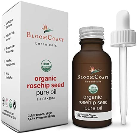 BloomCoast Organic Rosehip Seed Oil 100 Pure Beauty Oil for Face Skin and Body Cold Pressed product image