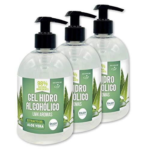 Gel hidroalcohólico NUEVOS AROMAS unidades de 500 ml con 70% alcohol y con glicerina NATURAL para el cuidado de la piel. 98% ingredientes Naturales. (ALOEVERA)