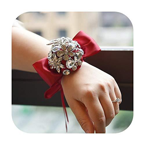 Hopereo Dama de honor muñeca flores rosa raso ramillete nupcial novia pulsera joyería accesorios de boda 4 colores hecho a medida rojo