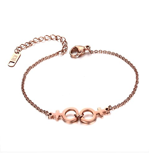 VNOX IP Rose Gold Plated Stainless Steel Female Symbol Gay and Lesbian Pride Bracelet