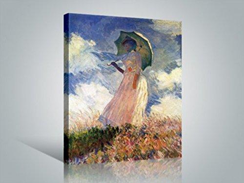 1art1 Claude Monet - Frau Mit Sonnenschirm 1886 Bilder Leinwand-Bild Auf Keilrahmen | XXL-Wandbild Poster Kunstdruck Als Leinwandbild 80 x 60 cm