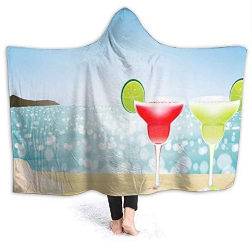 SUHETI Tragbare Hoodie Decke,Margarita Season Cocktail Sunny Glass Sandy mit...