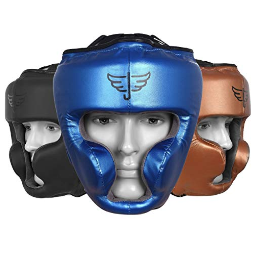 Jayefo Sports Head Guard for Boxing MMA Kickboxing Muay Thai SELF Defence Training Gear Protection Helmet Martial Arts for Youth Men & Women (Blue, S/M)