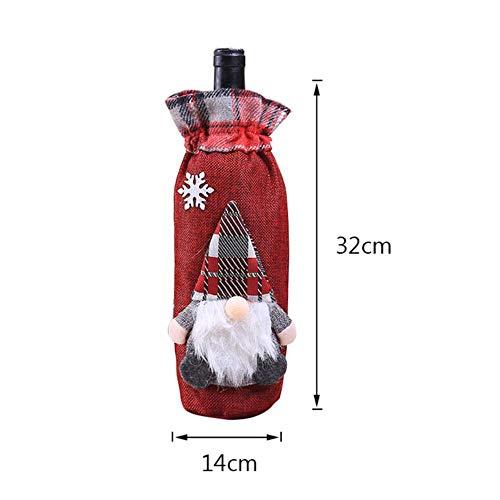 HJCWL 1 stuk tafeldecoratie wijnfles afdekking hoed jaar cadeau kerstman pop champagnefles geval 1 stuk S