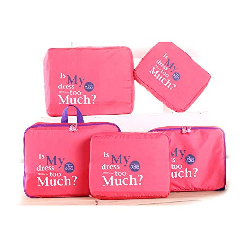 Beloved Set di 5 Organizer da viaggio per valigia - beauty case - salvaspazio - lavanderia - bagaglio a mano e trolley (Fucsia)