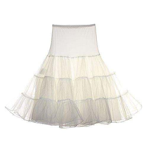 FeelinGirl Retro Petticoat 50er Jahre Unterrock Petticoat,Elfenbein,M