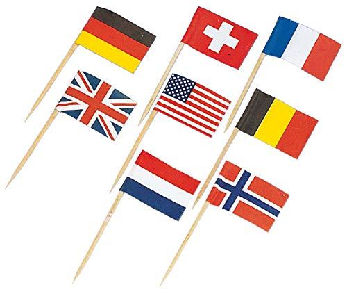 Amscan 5310 - Flaggenspießchen, 30 Stück, circa 7 cm, Holzspieß, Picker, Public Viewing, Fußball