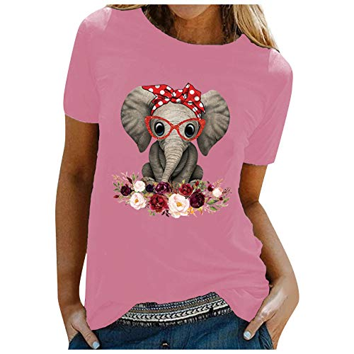 Dosoop Women Graphic Tees Casual Elephant Print Crewneck Short Sleeve T Shirt Shirts Tops Blouse Plus Size