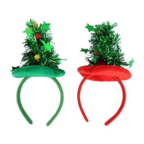 Bestoyard - 2 diademas para el rbol de Navidad, con estrella y espumilln y bolas, accesorio para el pelo, accesorio para disfraz (rojo y verde)