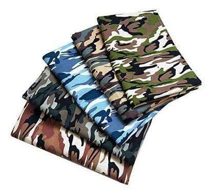 DIY Stoff Camouflage 48 x 48 cm 5 Stück verschiedene Muster Patchwork Stoff Craft Bedruckt Baumwolle Material Gemischte Quadrate Bundle Quilting Scrapbooking Nähen Kunsthandwerk