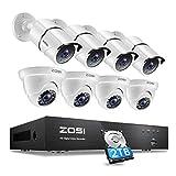ZOSI 4K Kit de Cámara de Vigilancia Seguridad 8CH 8MP H.265+ Videograbador DVR con (4) Cámara Bala y (4) Cámara Domo, 2TB Disco Duro, Visión Nocturna IR, Alarma de Movimiento