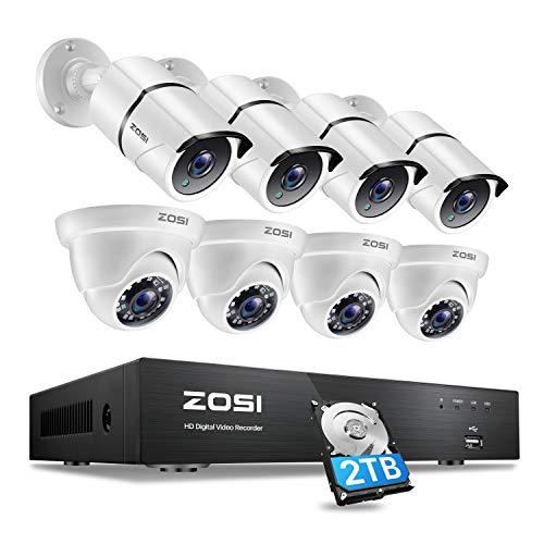 ZOSI 8CH 4K Ultra HD Außen Überwachungskamera Set mit 2TB Festplatte, 8CH H.265+ 8MP Rekorder mit (4) 4K Bullet Kamera und (4) 4K Dome Kamera, Video Überwachungssystem für Innen und Außen