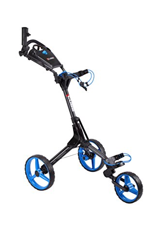 Cube CART 3 Wheel Push Pull Golf CART - Two Step Open/Close - Smallest Folding Lightweight Golf CART in The World - Choose Color! (Charcoal/Blue)